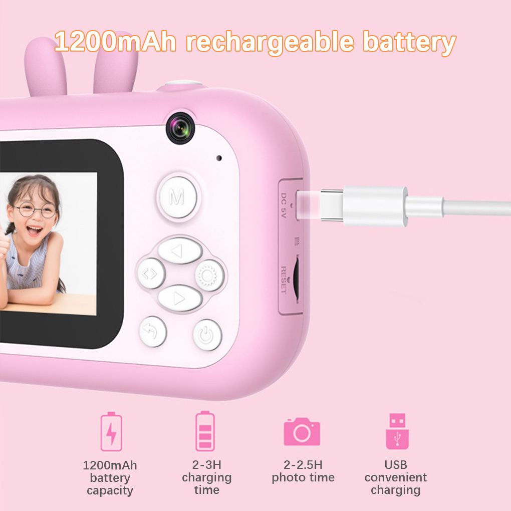 Children Camera Instant Print Camera For Kids For Birthday Gifts 1080P HD Camera With Thermal Photo Paper Toys Camera