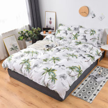 Zebra and coconut tree print double bed Winter bedding set Quilt Cover Bed Cover Flat Sheet Pillow Cases Bedding Linen Set(China)