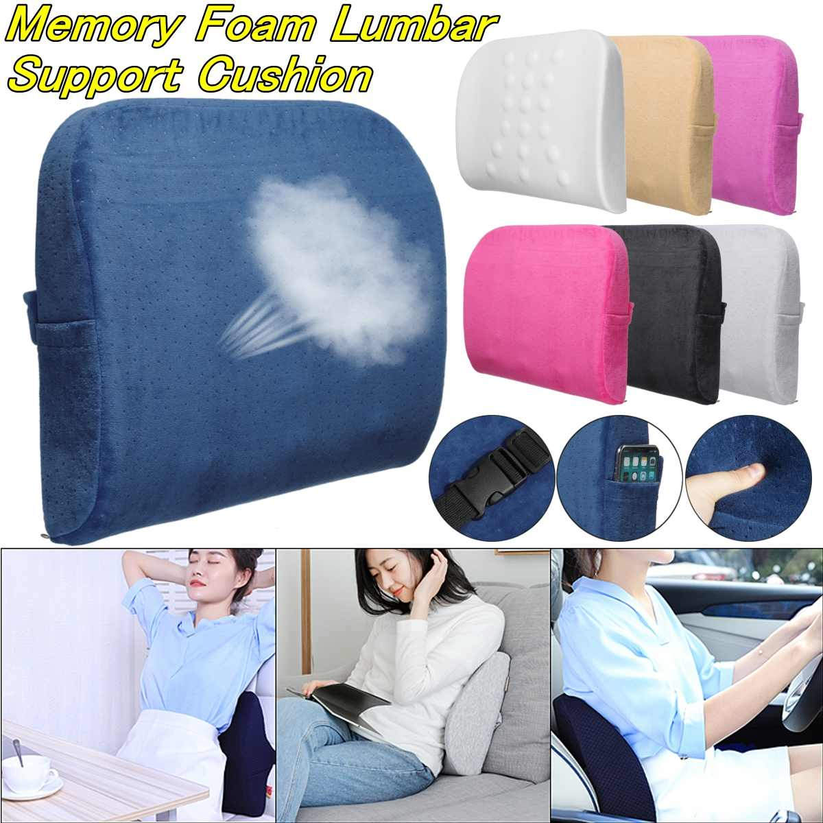 2019 Soft Memory Foam Car Seat Pillows Breathable Lumbar Support Back Massager Waist Cushion For Chairs Home Office Relieve Pain