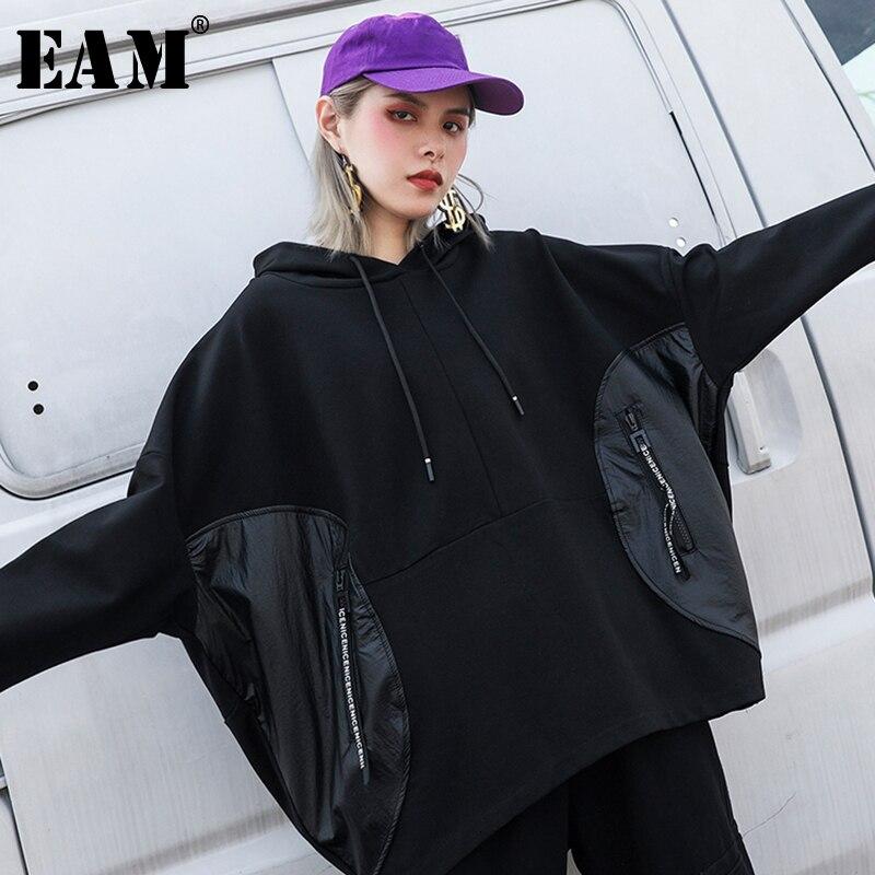 [EAM] Loose Fit Pocket Split Joint Oversized Sweatshirt New Hooded Long Sleeve Women Big Size Fashion Autumn Winter 2019 1H340
