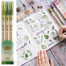 3 adet Retro renk fırça işaretleme kalemleri seti çift taraflı ince astar su bazlı mürekkep bükülebilir suluboya sanat boya çizim okul f133