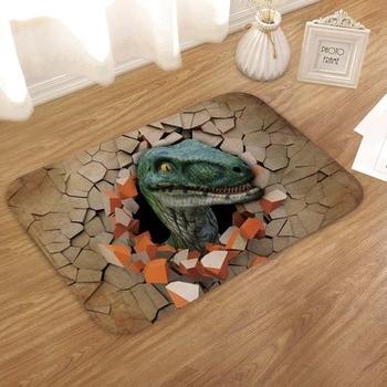 60X40Cm 3D Dinosaur Print Floor Mat Carpet Soft Flanner Doormat Rugs for Bedroom Living Room Door Floor Hallway Mats