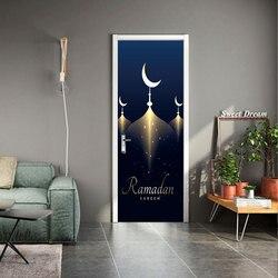 Ramadan szczęśliwy muzułmanin naklejki na drzwi można usunąć wodoodporna ściana naklejki sypialnia salon tapety zrób to sam hurtowo w Naklejki na drzwi od Dom i ogród na