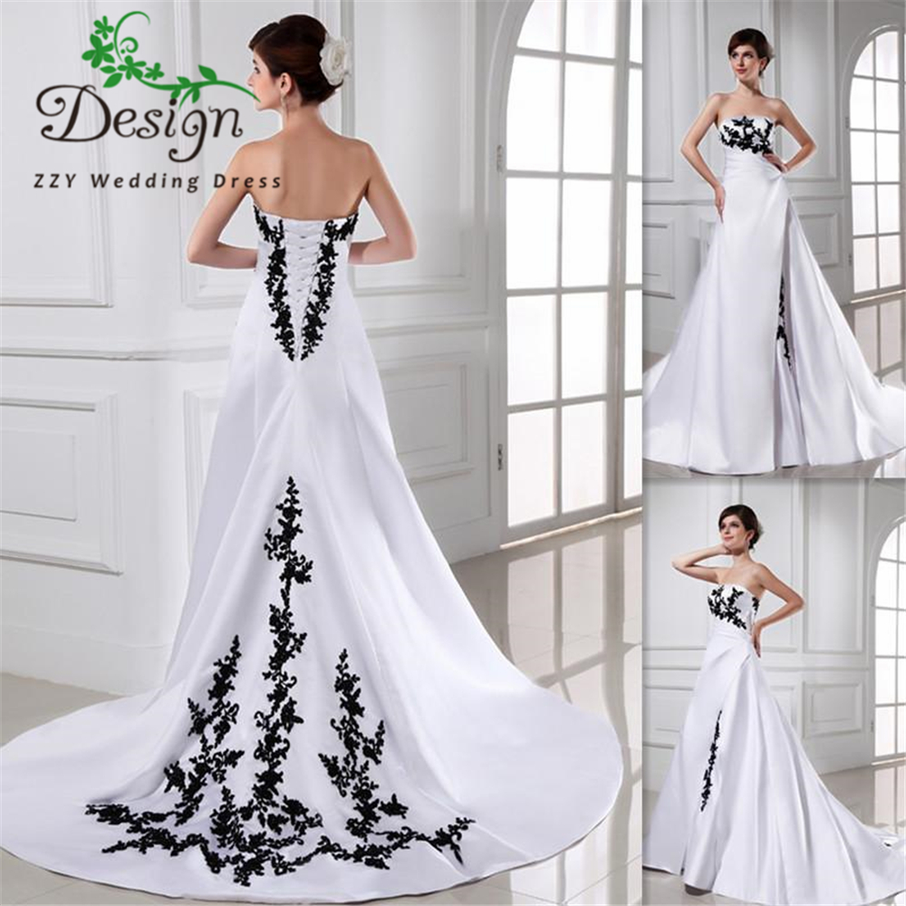 Black And White Wedding Dress Ball Gown Satin Court Train Lace Up 2019 Bridal Gowns Vestido De Noiva Western Cheap Bride Dresses