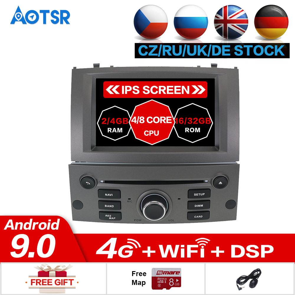 Android 9.0 9.1 Car DVD Player GPS Glonass Navigation For Peugeot 407 2004-2010 4GB RAM 32GB ROM Multimedia Radio Stereo DSP