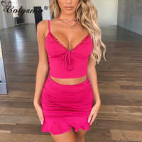 Colysmo Sexy Two Piece Set Women Off Shoulder Crop Top Mini Skirt Set Ruffles Summer 2 Piece Set Sleeveless Bodycon Skirts Sets