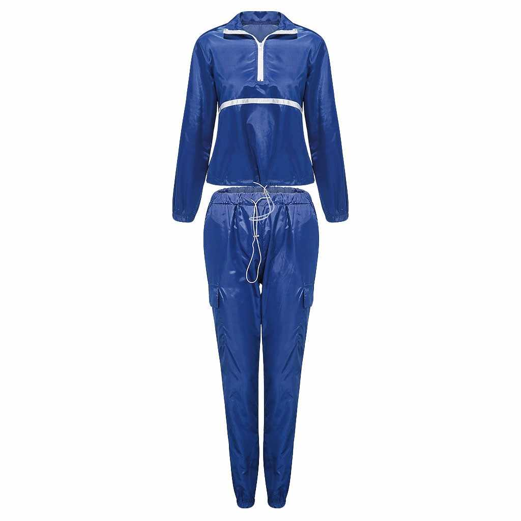 Mujeres moda Casual Zip costura Set manga larga Crop Tops + Pantalones