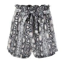 Fantoye Snake Print High Waist Shorts Women 2019 Autumn Paper Bag Sexy Elegant Fashion Lace Up Ruffle Mini Ladies Shorts Skirts