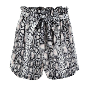 Image 5 - Fantoye Snake Print Hoge Taille Shorts Vrouwen 2019 Herfst Papieren Zak Sexy Elegante Fashion Lace Up Ruche Mini Dames Shorts rokken
