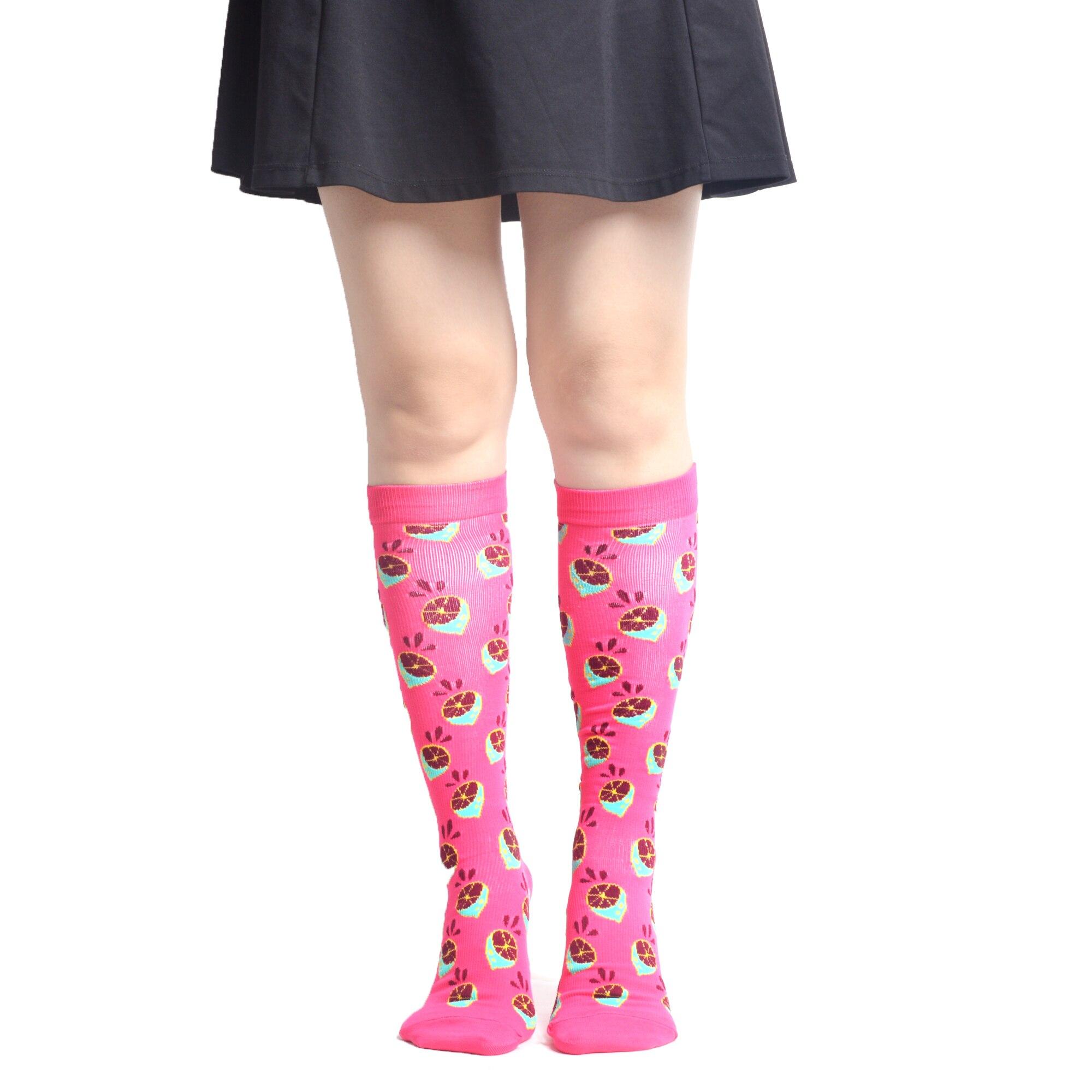 Image 4 - SANZETTI 4 пар/лот, женские лоскутные носки из чесаного хлопка с фруктами, Компрессионные носки, вечерние ниже колена, клетчатые, не утомляющие, длинные забавные носки-in Чулки from Нижнее белье и пижамы on AliExpress - 11.11_Double 11_Singles' Day