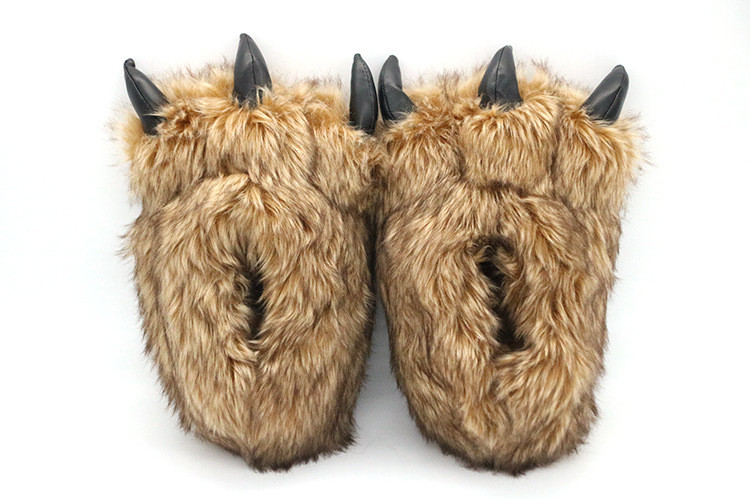 H36ebe7ae1a534b419d9dcb3bd6eafc16Q Pantufa Garra de Urso de Algodão Chinelos Quentes Interior de Inverno das mulheres das Mulheres De Pele Escorregas Senhoras Bonito Animal De Pelúcia Sapatos Femininos De Pele flip Flops