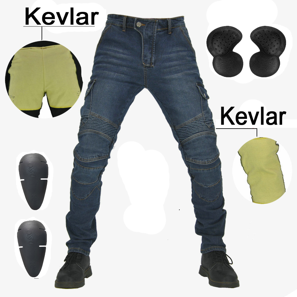 WF-06 New Blue Motorcycle Riding Jeans Kevlar Wear Men's Anti-fall Motorcycle Pants Trousers With Protection For Winter