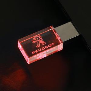 Image 2 - JASTER Peugeot crystal metal USB flash drive pendrive 4GB 8GB 16GB 32GB 64GB 128GB External Storage memory stick u disk