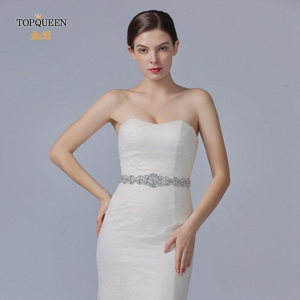 TOPQUEEN S161 Pearls Wedding Belt Crystal Bridal Sash Silver Rhinestones Satin Diamond Bridal Belt For Wedding Dress Belt