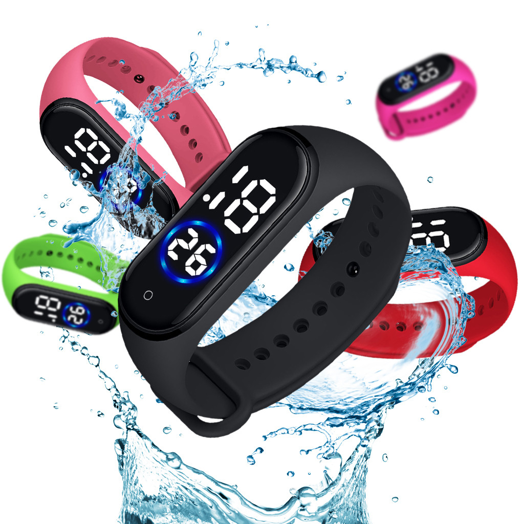Clock Watches Silicone-Band Wrist Digital Resistente Waterproof Women Mens LED Sport title=