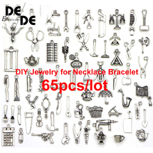 65pcs/lot Random Mix Silver Bead Charm European With Marine organism Pendant Fit making Bracelet Gift