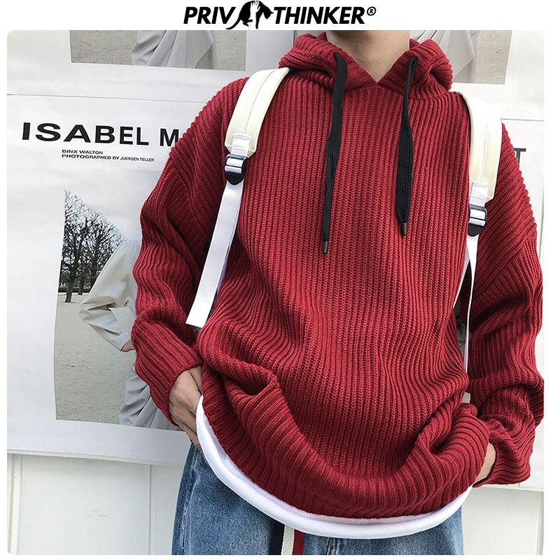 Privathinker Autumn Men's Warm Trend Hooded Thick Sweaters Men Loose Colorful Coarse Wool Sweater Male Knitted 2019 Street Tops