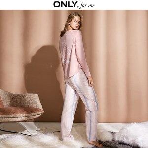Image 3 - Chỉ Có Phụ Nữ Homewear Quần Dáng Rộng Mỏng Bộ Pyjama Sọc Quần