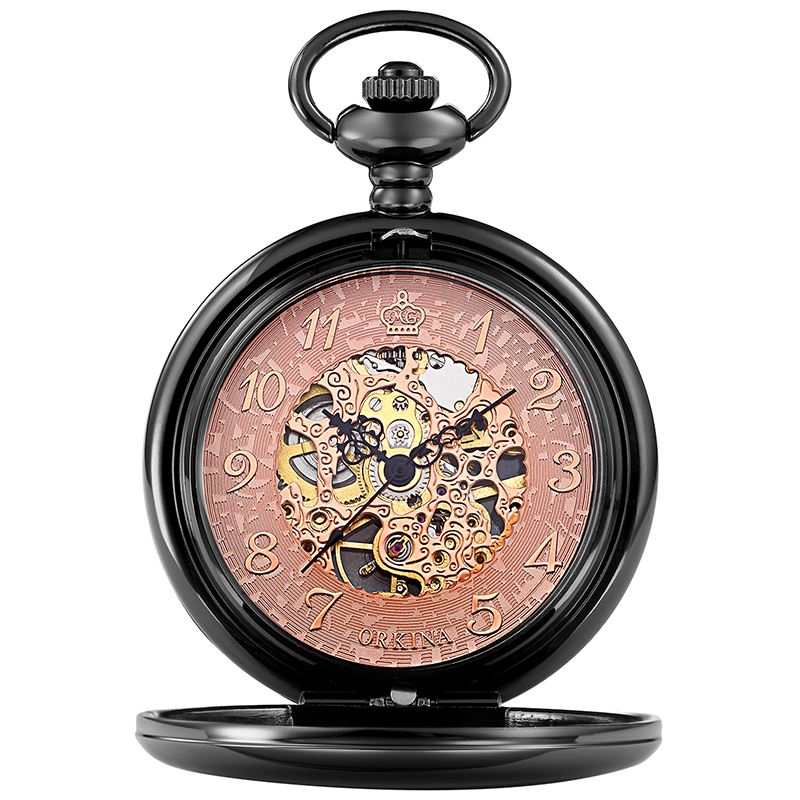 mecânico esqueleto pingente corrente fob reloj para