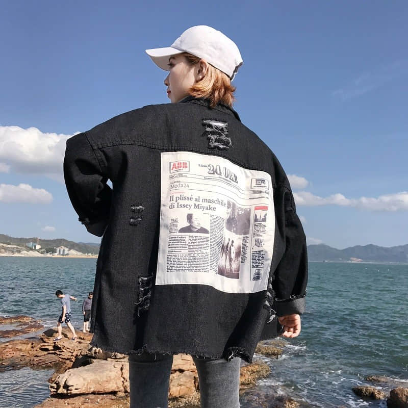 2020 Spring Denim Coat Women Long Sleeve Plus Size Printed Jean Jacket Hole Boyfriend Style Streetwear Jackets Overcoat