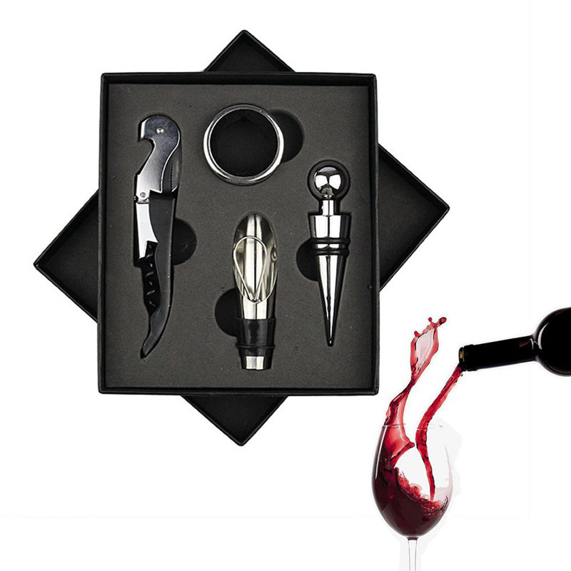 4 Pcs/set Red Wine Opener Stainless Steel Pourer Wine Ring Bottle Plug Hippocampus Knife Wine Bottle Opener