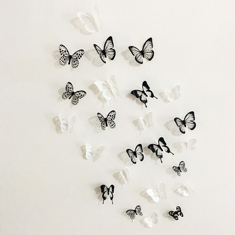 18pcs Black White 3d Crystal Butterfly Wall Sticker Wedding Decoration Butterflies Art Decals Living Room Bedroom Decor Stickers