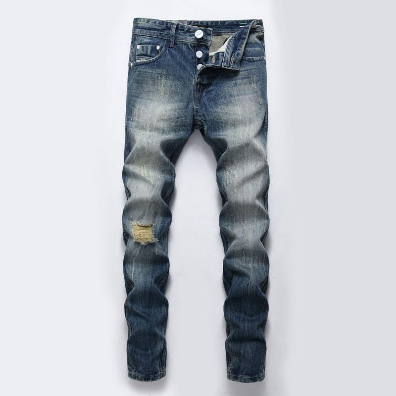 Где купить Мужские джинсы, винтажные дизайнерские облегающие джинсы в ретро-стиле