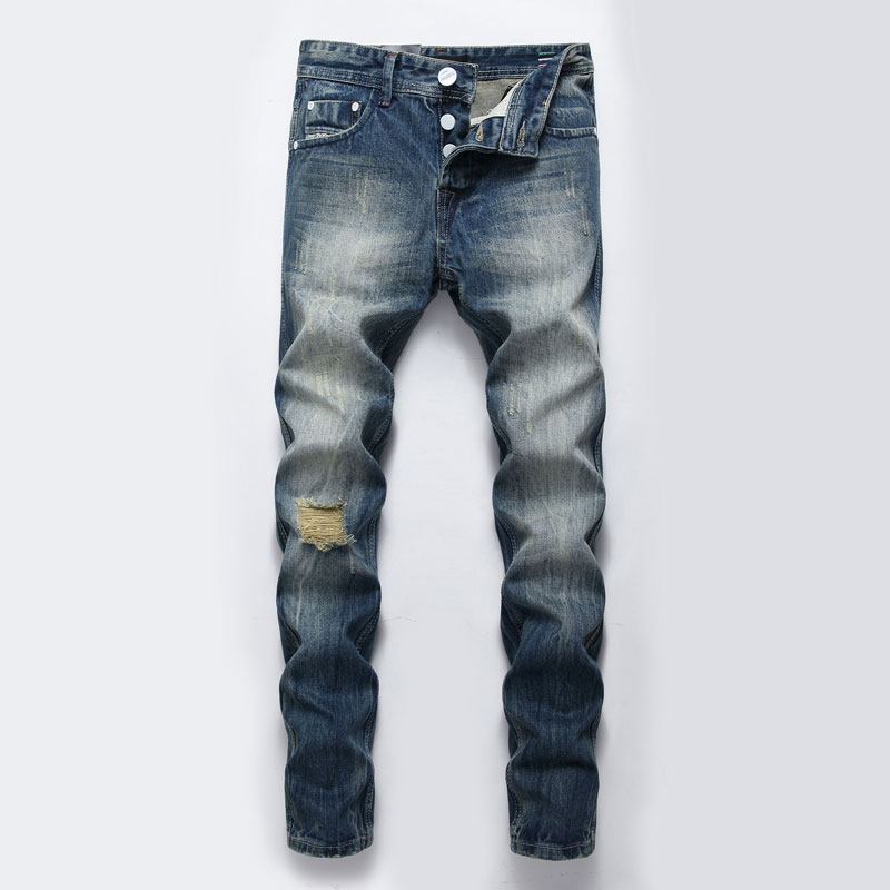 Italian Style Fashion Men Jeans High Quality Slim Fit Retro Wash Ripped Jeans Men Denim Baggy Pants Vintage Designer Jeans Homme