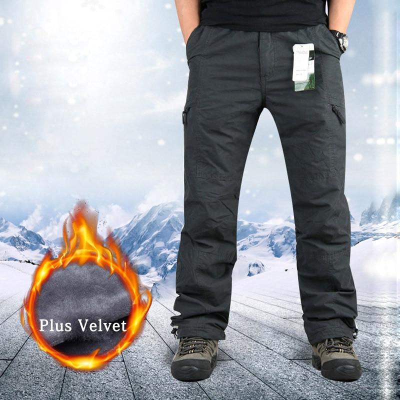 2019 Winter Warm Cargo Pants Mens Thicken Fleece Military Trousers Men  Plus Velvet Casual Army Pants For Men Sweatpants