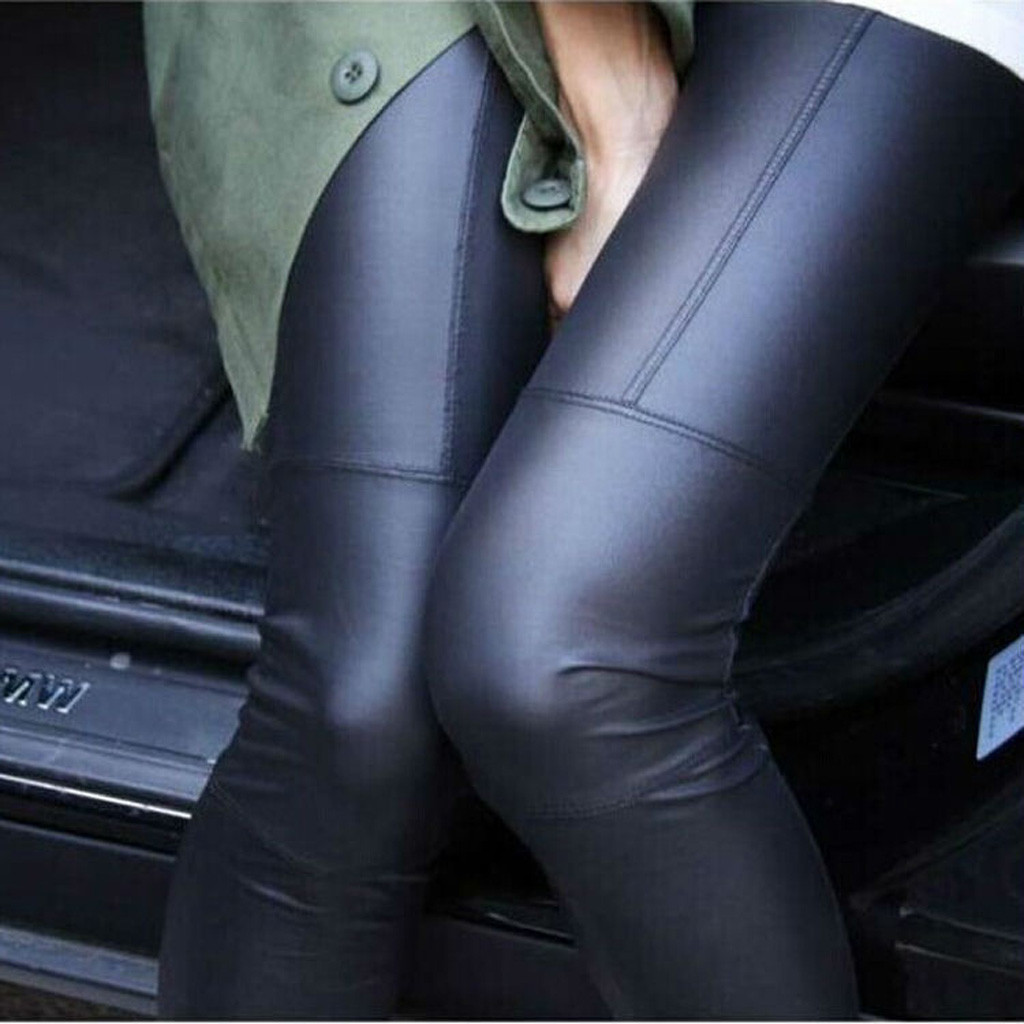 Women Imitation Leather Spliced Leggings Slim Pants Nine Leather Pants Thin Pantalon Femme#20