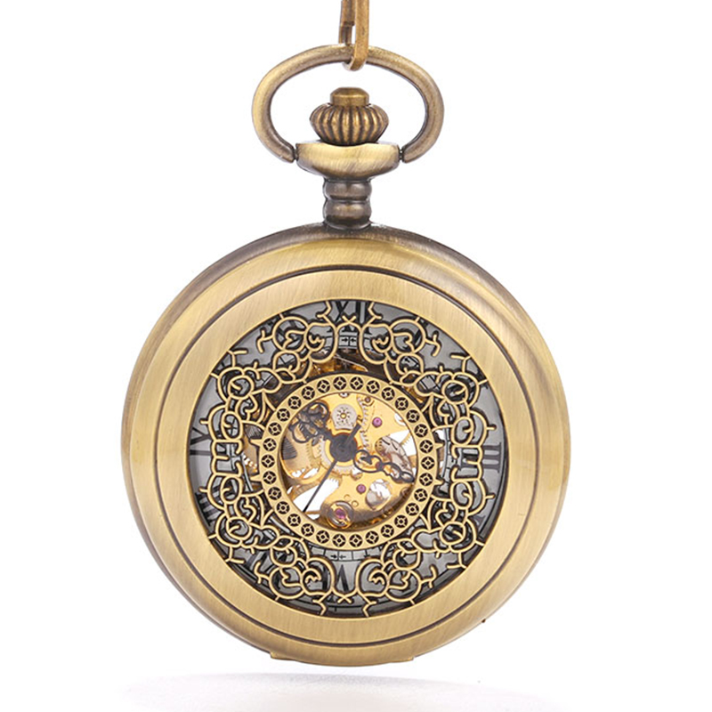 Hollow Mechanical Carved Copper Court Scale Large Pocket Watch Personality Trend Creative Gift Value Exquisite Flip Beautiful Gi