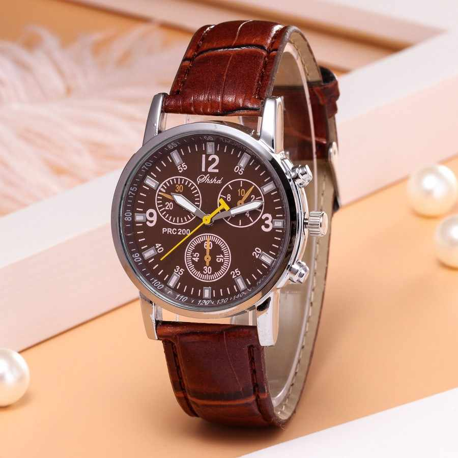 גברים של שעון התחדשות Blu-ray זכוכית ניטראלי פשוט קוורץ אנלוגי יד עור עור רצועת שעון חג מתנה часы мужские 50 *