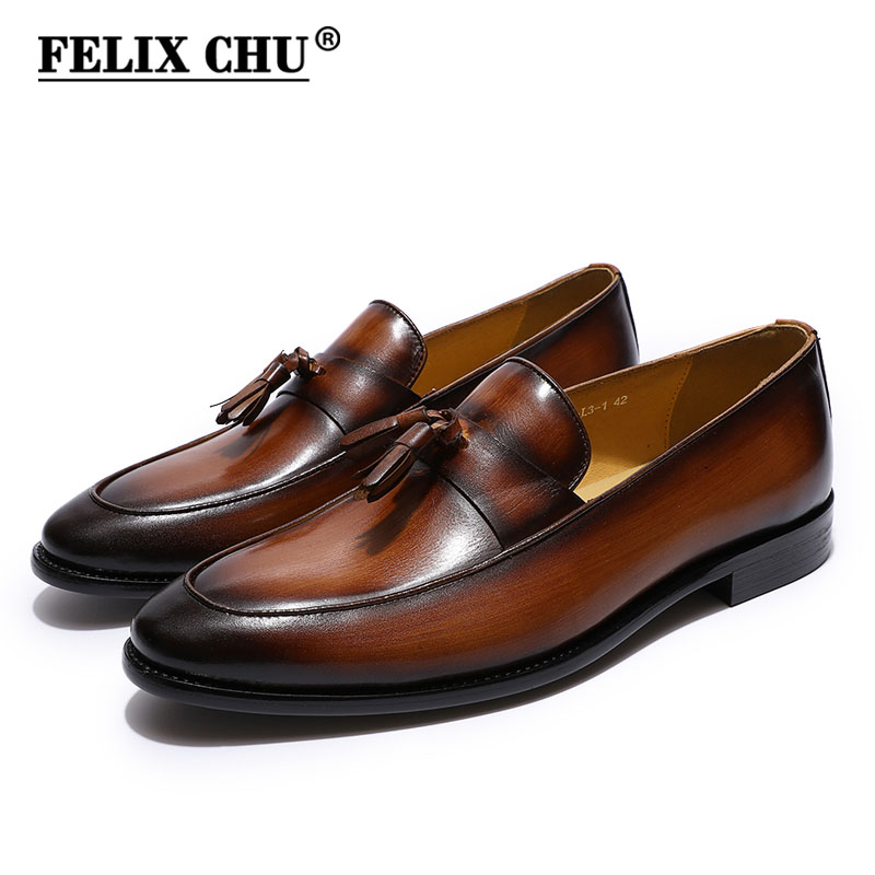 FELIX CHU Men's Tassel Loafers Genuine Leather Brown Blue Mens Casual Dress Shoes Slip On Wedding Party Men Shoes Leather Flats