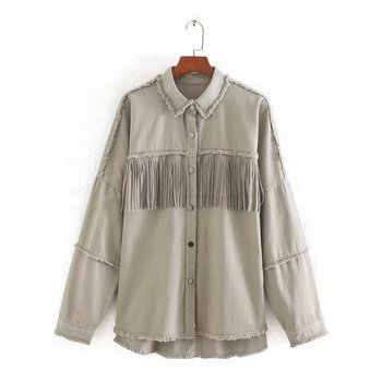 2020 Spring Autumn Fashion Rivet Tassel Denim Jacket Women Solid Short Casual Loose Jean Coat Female Outwear Tops Chaqueta Mujer 4