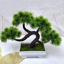 Искусственные зеленые растения, имитация бонсай, пластиковый маленький горшок для дерева, украшения в горшках для домашнего стола, декора сада 52841