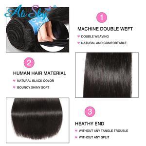 Image 3 - Alisky бразильские волосы прямые 3 пряди с закрытием человеческие волосы пряди с закрытием кружева Remy человеческие волосы для наращивания