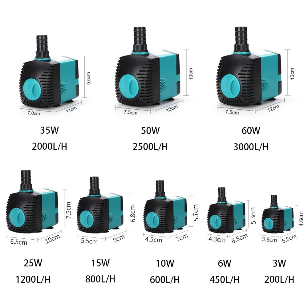 Ultra-Stille 3/6/10/15/25/35/50/60W Dompelpompen water Fontein Pomp Filter Visvijver Aquarium Waterpomp Tank Fontein