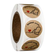 500pcs/lot Vintagebaked with love  Round Kraft paper Seal sticker For handmade products baking products sealing sticker Label 120 pcs lot cute long hand made with love kraft paper seal sticker for handmade products baking products sealing sticker label