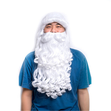Beard Wig Cosplay-Costume Long-White Xmas Hairpiece Wavy-Set Festival Gifts Fancy Christmas