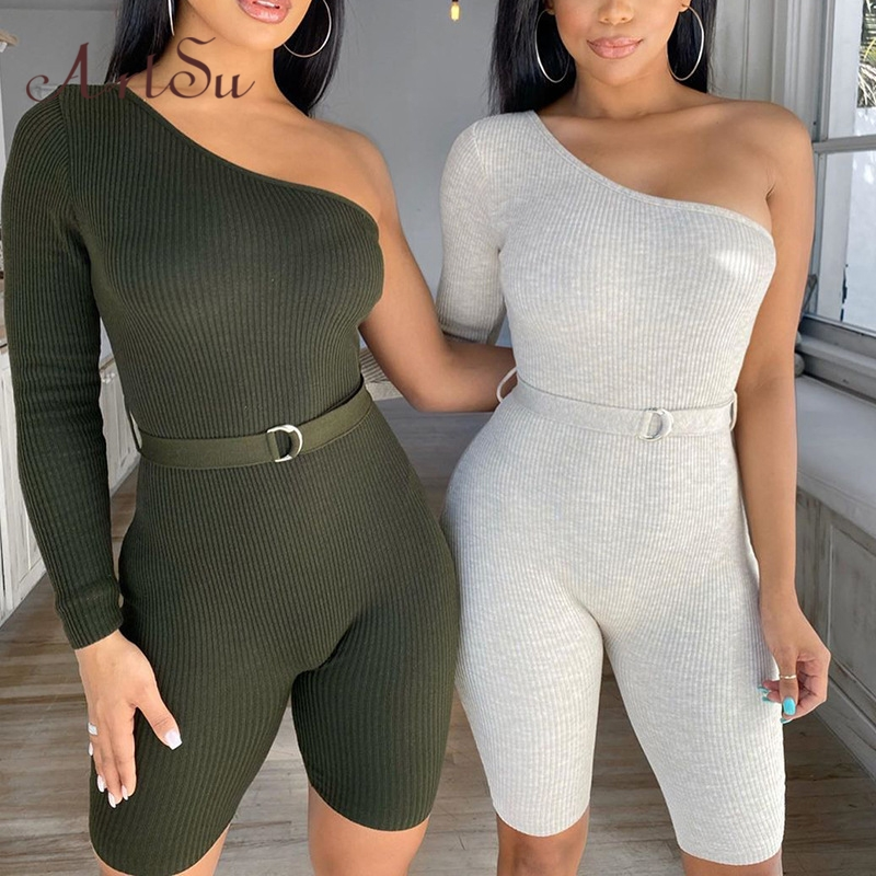 Artsu One Shoulder Knitted Playsuits Casual Solid Jumpsuit With Belt Rompers Body Mujer Elegant One Pieces Outfits ASJU60722