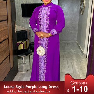 Vintage Floral Print Purple Long Sleeve Party Dress Women Retro Spring Fall Arab African Ladies Elegant Long Dresses Maxi 2019(China)