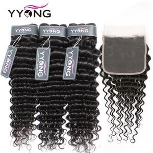 Yyong 4X4&5x5 Closure With Bundles 8-30inch Brazilian Deep Wave Bundles With Closure Remy 3/4pcs Hair Weave Bundles With Closure