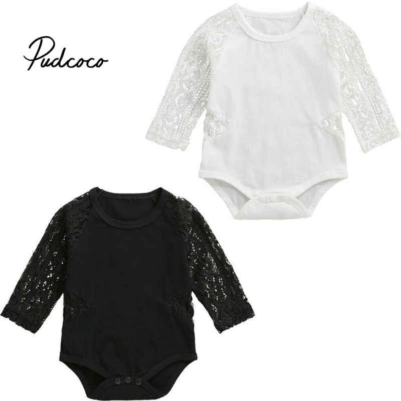 Toddler Newborn Baby Girl Boy Long Sleeved O-neck Lace Sleeve Tops Bodysuit Romper Summer Autumn Cute Girls Babies Clothing