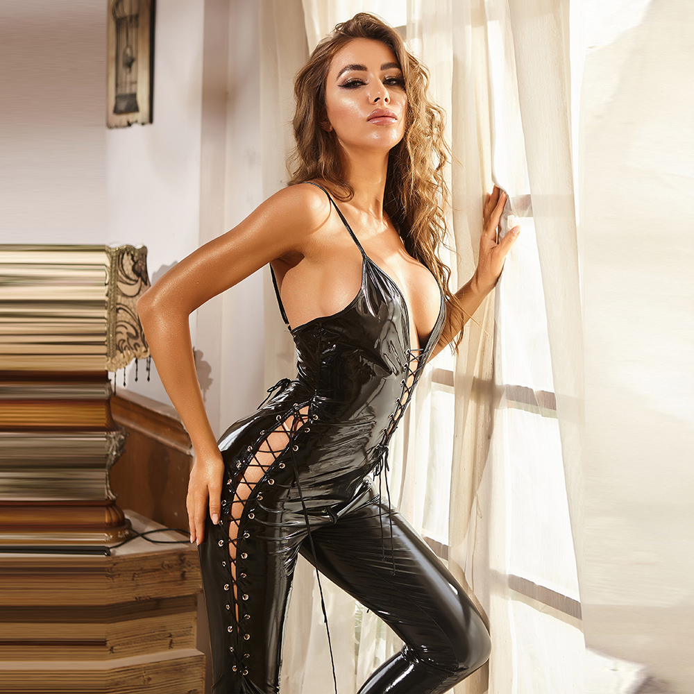 Wetlook Faux Leather Catsuit PVC Latex Fetish Jumpsuit Sleeveless Lace Up Zipper Open Crotch Bodysuit Erotic Pole Dance Clubwear