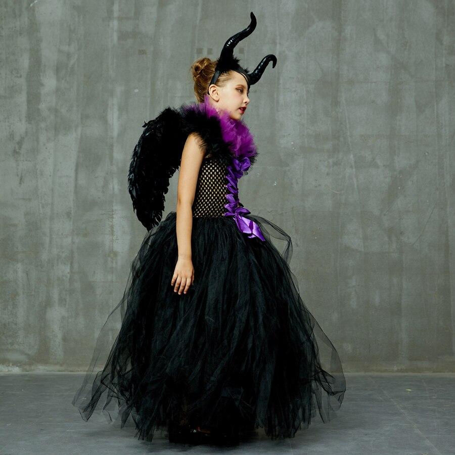 H36edcfcad65a4320b7c95ee342f68c5cm Kids Maleficent Evil Queen Girls Halloween Fancy Tutu Dress Costume Children Christening Dress Up Black Gown Villain Clothes
