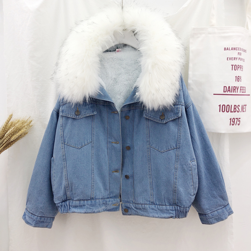 H36edd5a6bc5c4b5cb1707b78e5c3d5f5X velvet thick denim jacket female winter big fur collar Korean locomotive lamb coat female student short coat