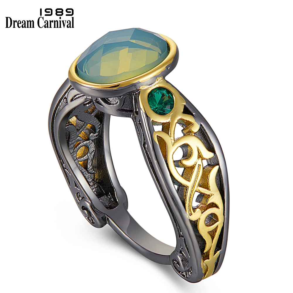DreamCarnival1989 Oval Green Zirconia Rings for Women Solitaire Wedding Ring Craft Band Vintage Wedding Jewelry Hot Pick WA11792 1