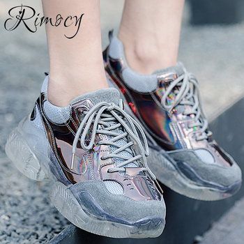 Genuine Leather Transparent Platform Sneakers Women Laser Colorful Thick Bottom Casual Shoes Woman Silver Pink Triple S Trainers