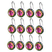 12Pcs/Set Multicolor Round Acrylic Rhinestone Decorative Shower Curtain Hook xmas decor Decor Accessory