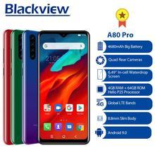 Blackview A80 Pro الإصدار العالمي 4GB + 64GB الهاتف المحمول 4680mAh 4G الهاتف الخليوي SmartphoneQuad كاميرا خلفية 6.49 Waterdrop الهاتف المحمول